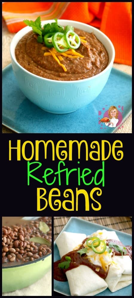 Homemade refried beans are healthier for you since the store-bought canned refried beans are usually contain hydrogenated oils and preservatives. The are a great whole food recipe that are also very inexpensive to make.