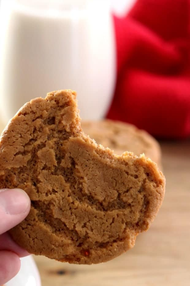 A bite out of a gingersnap cookie with a glass of milk in the background.