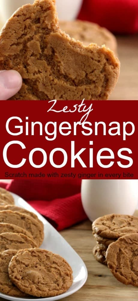 A pinnable image of gingersnap cookies.