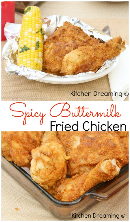 Spicy Buttermilk Fried Chicken; moist, tender and perfectly spicy fried chicken.