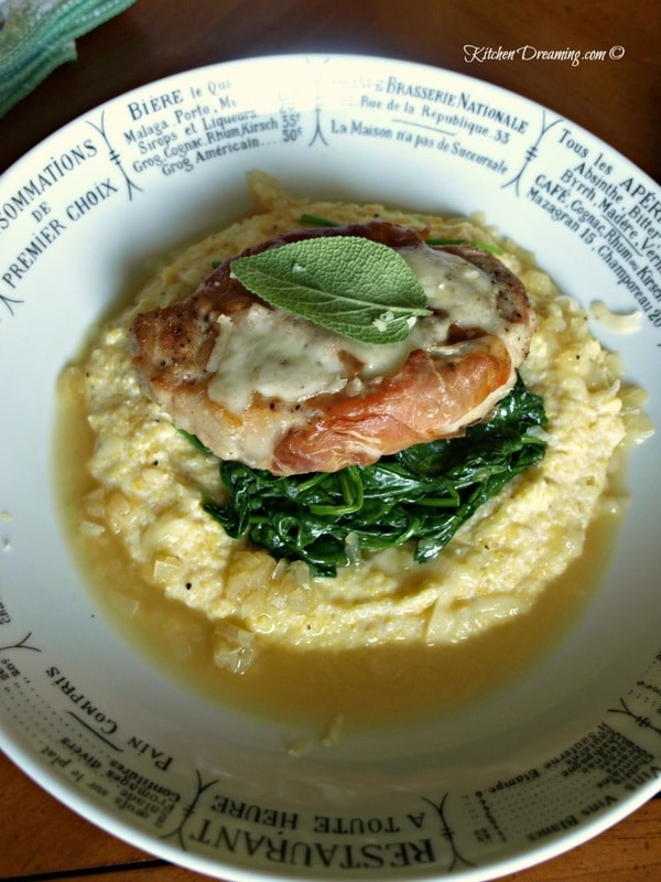 Saltimbocca is a Mediterranean dish that originated in Italy and can be traced back to Roman Times. While veal is the meat traditionally used in making this dish, any meat can be used. This version of Saltimbocca with wilted Spinach and Polenta is on the table in just over 30-minutes and the flavors are fully satisfying.