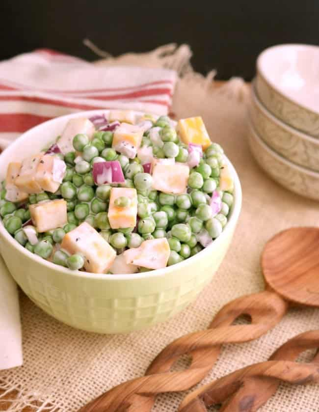 This simple and easy to follow recipe for Creamy English Pea Salad is really a great side dish for any time of the year.