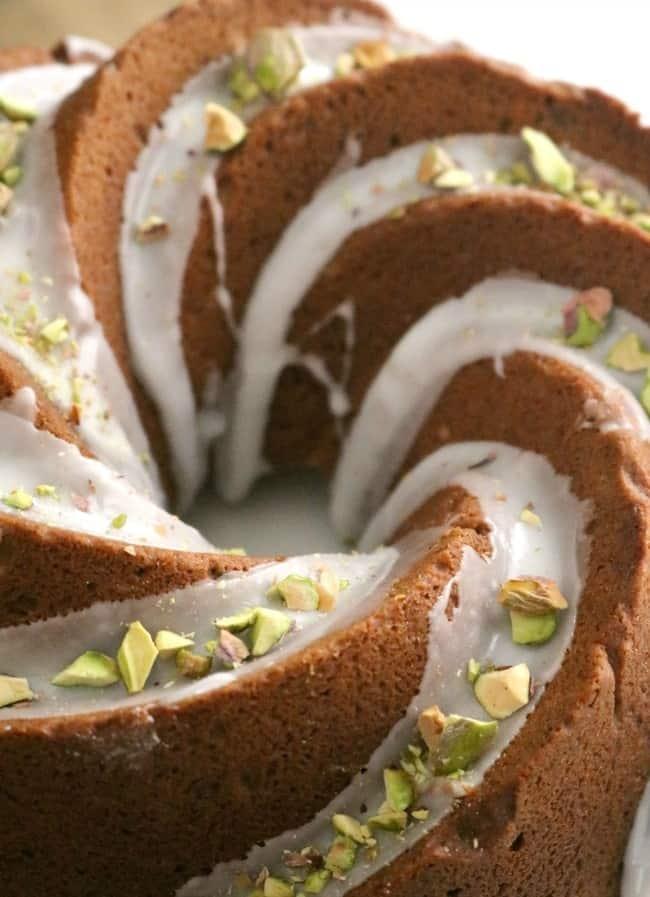 Pistachio Bundt cake - close up on the plate.