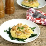 Perfectly Pan Seared Scallops on Parmesan Polenta have golden brown edges and are sweet, tender and delicious!