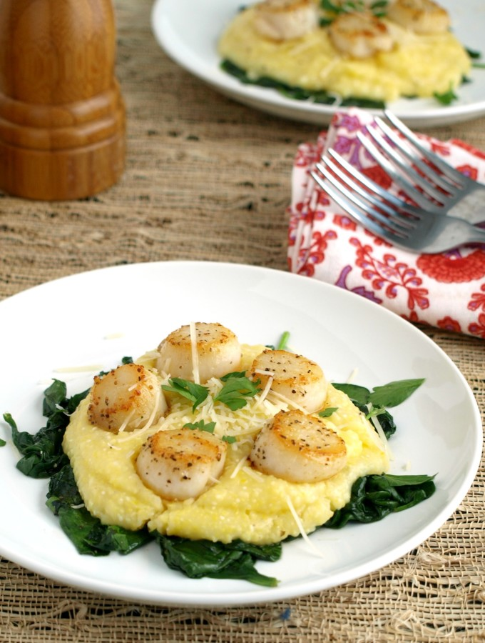 Pan Seared Scallops on Parmesan Polenta