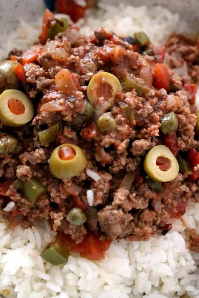 a close up of cuban picadillo