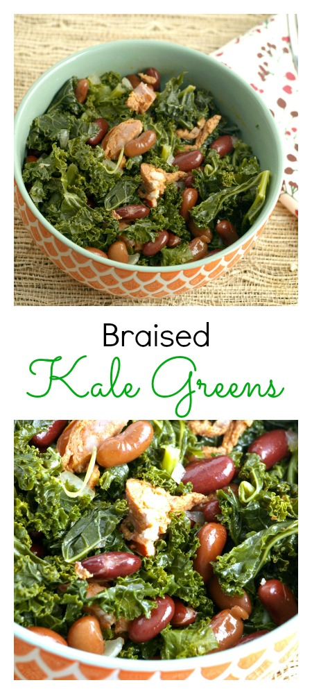Braised Kale Greens make an excellent side dish anywhere you may enjoy normally enjoy collard or mustard greens.
