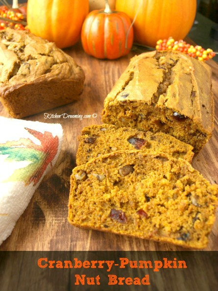Cranberry Pumpkin Nut Bread is the perfect combination of pumpkin and cranberry and makes a great addition to the holiday table.