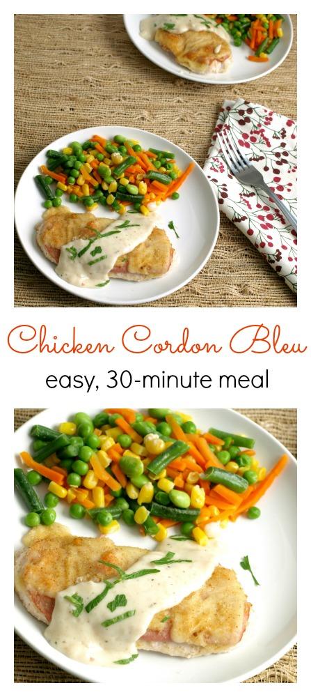 a plat eof baked chicken cordon bleu