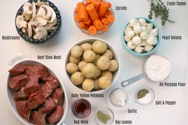 A photo of the ingredients for Beef Burgundy.