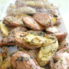 Garlic and Herb Roasted Fingerling Potatoes have outer skins that are crispy with a hint of garlic and the centers are still so creamy.
