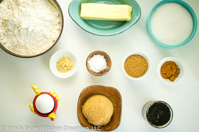 The ingredients for Homemade Soft Molasses Cookies