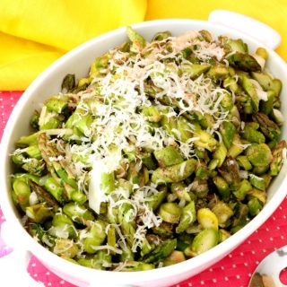 Asparagus salad has a wonderful flavor and lasts in the fridge for quite a few days. The asparagus really stands up to the dressing and does not get mushy even after a couple of days. This is a great brunch salad and goes well aside eggs and omelets; it's also a great side to any weeknight meal.
