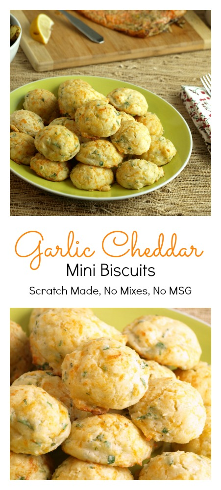 Garlic Cheddar Mini Biscuits are scratch made, with no prepared mixes, have No MSG and make a great addition to any meal.
