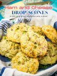A Pin Image for savory ham and cheese scones.