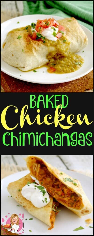 Baked Chimichangas with Chile Verde Sauce is a lighter version of the traditional Chimichangas. Packed with a fragrant, spicy chicken mixture & then baked.