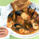 Portuguese Cioppino originated in San Francisco and is usually made from a mixture of the day's catch, which can be any combination of seafood.