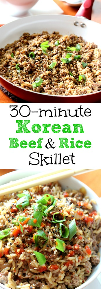 Korean Beef and Rice Skillet is incredibly flavorful and ready in the time it takes to simmer the rice in with the ground beef.