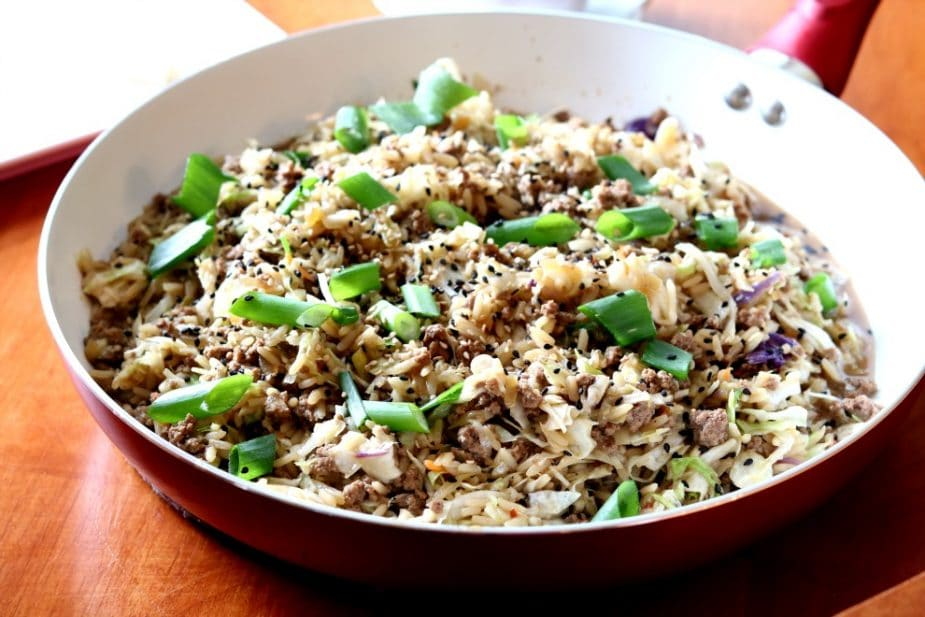 This Asian Beef & Cabbage Skillet is ready in just under 30-minutes and full of flavor.