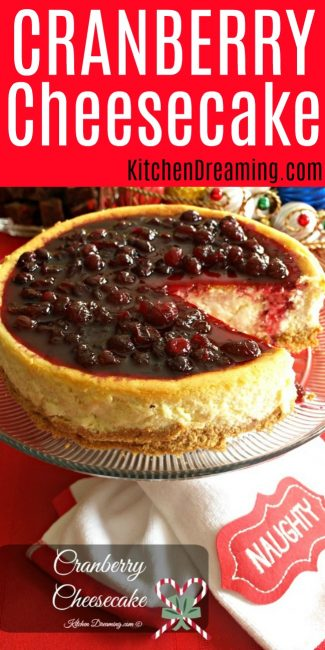 A pinnable image of Cranberry Cheesecake