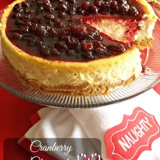 Cranberry Cheesecake on a cake stand ready for serving