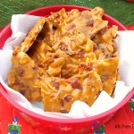 Maple Bacon Peanut Brittle - with the addition of some crispy bacon this Brittle comes together in just a few minutes as it is made in the microwave.
