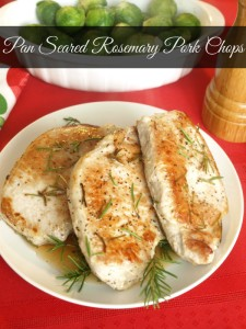 Pan seared rosemary pork chops cook up quick but are still bursting with fresh rosemary flavor.