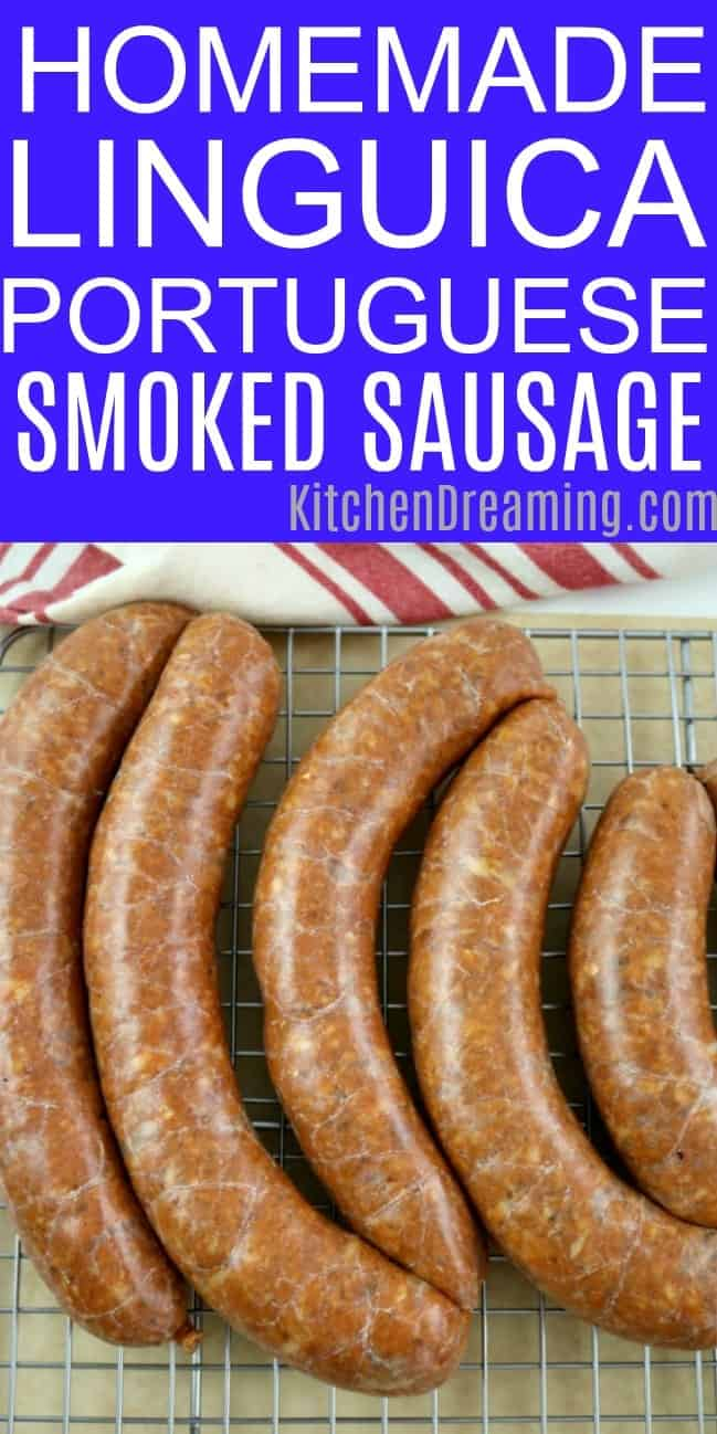 an image of homemade linguica Portuguese smoked sausage