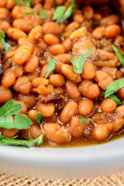 A close up image of crock pot baked beans, Baked beans in oven