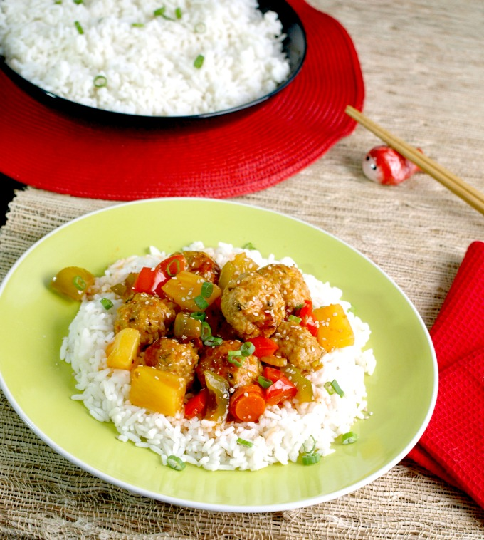 Sweet and Sour Meatballs costs less than half the amount of take out and feeds a family of four with some leftover and we can control the ingredients