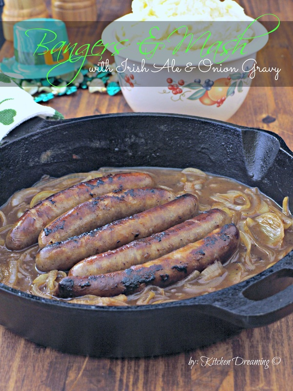 Bangers and Mash with Irish Ale and Onion Gravy http://kitchendreaming.com/{slug} Bangers and Mash with Irish Ale and Onion Gravy is a very traditional and inexpensive Irish supper. This version uses just one skillet, 10-ingredients or less and is ready in under 30 minutes! That's something to celebrate!