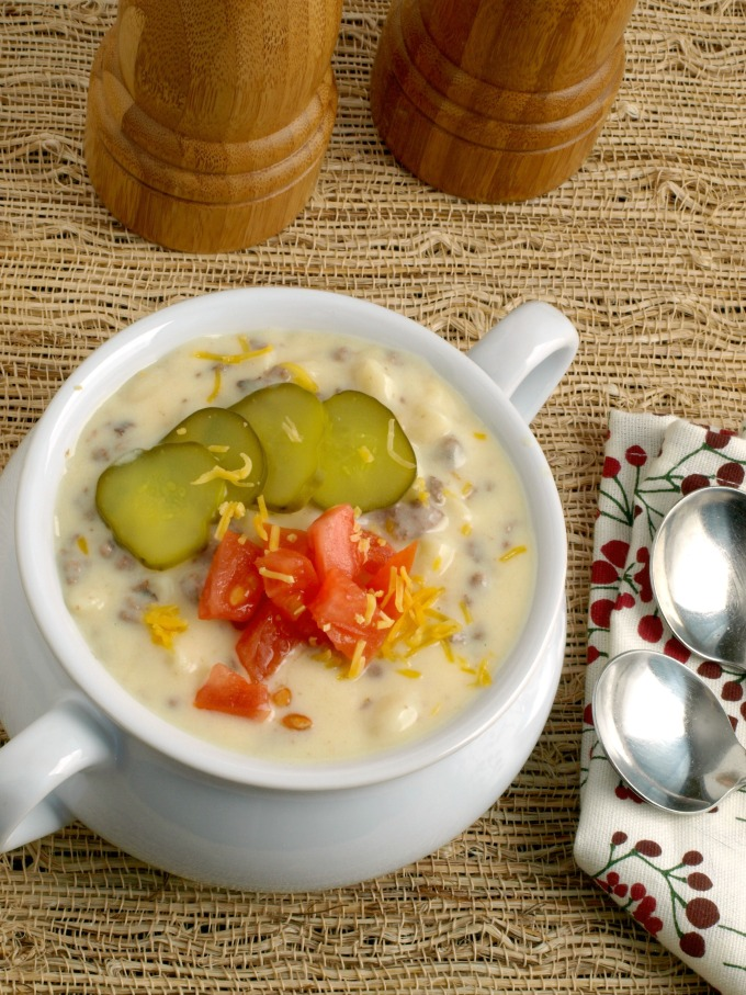 Cheeseburger Macaroni Soup has all the cheeseburger goodness in soup form, Easy to make and kid friendly, perfect for a weekday meal.