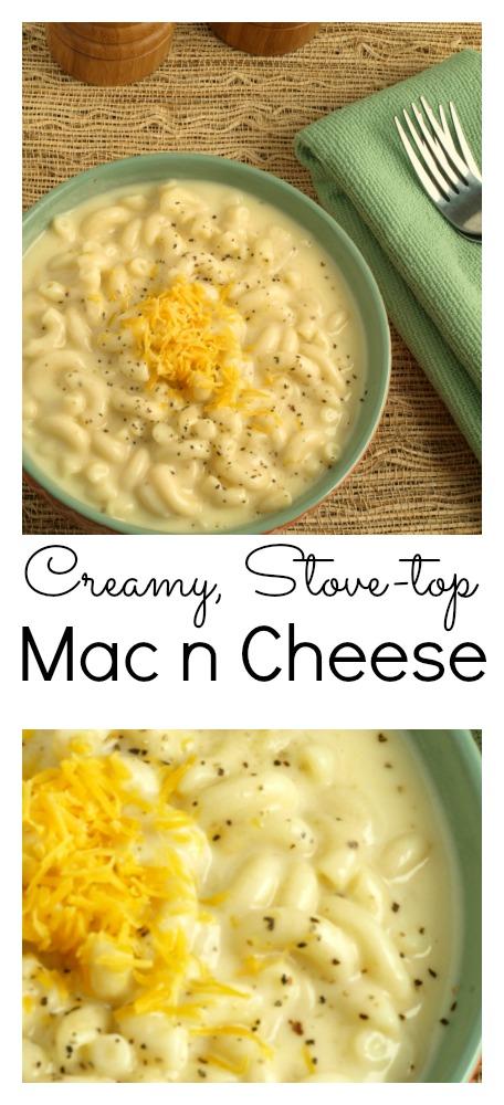 A pinnable Pinterest imgae of Stove Top Mac n Cheese