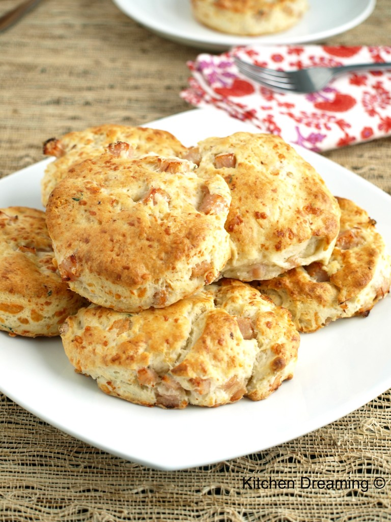 Turkey, Thyme & Swiss Scones make the perfect quick breakfast and are delicious paired with a steaming bowl of soup,