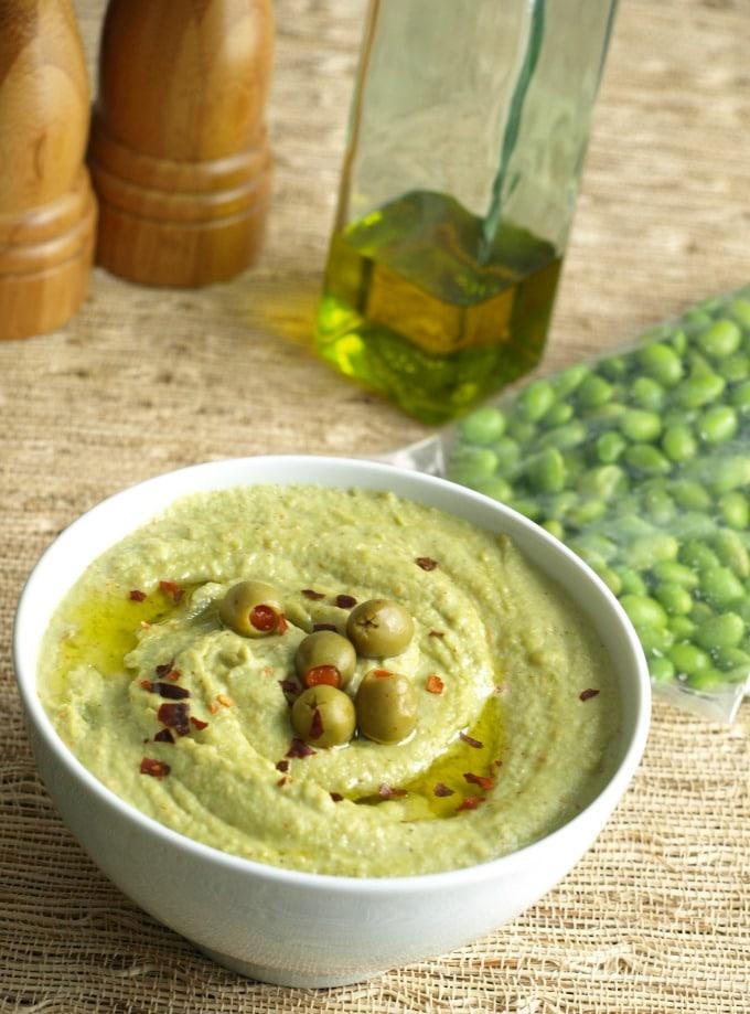 A bowl of Edamame Hummus