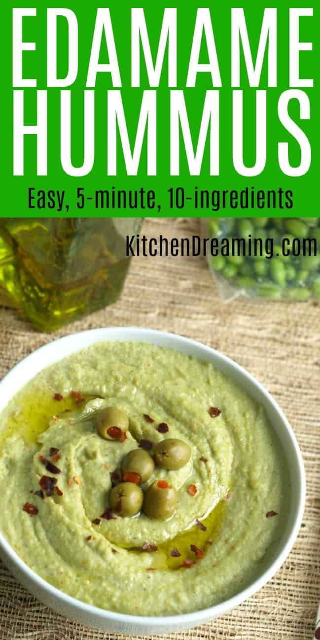 A pinnable Pinterest image of Edamame Hummus.