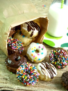 "Five minutes is all you need for the mini doughnuts with no need for rolling or a a special ""mini doughnut pan."""