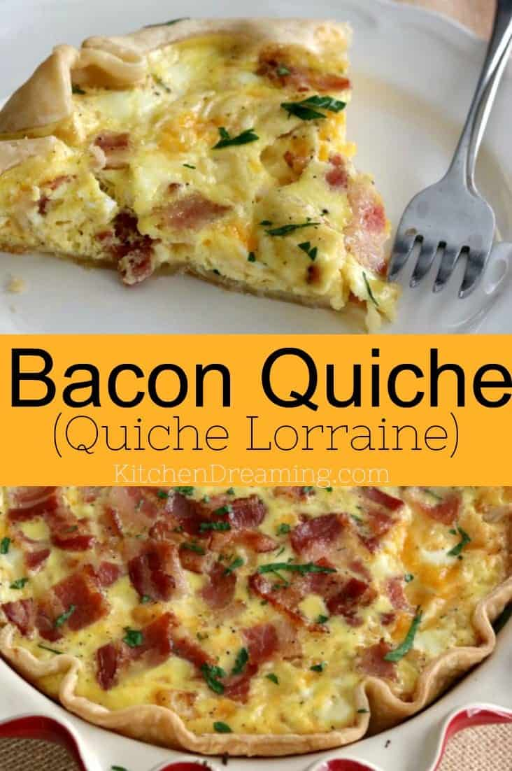 Quiche Lorraine may sound fancy but it really is a fancy name for Bacon Quiche. #Brunchideas #Brunch #bacon #Quiche #Ideas