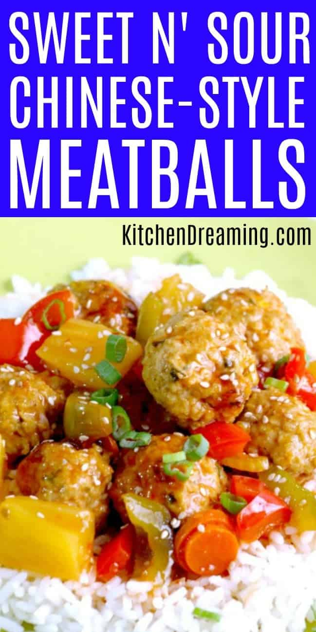 A pinnable Pinterest image of sweet & Sour meatballs.