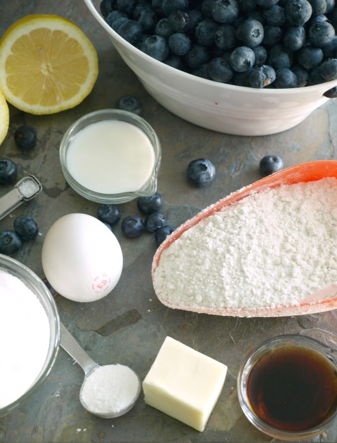 An overhead shot of the ingredients needed for Crock Pot Blueberry cobbler.