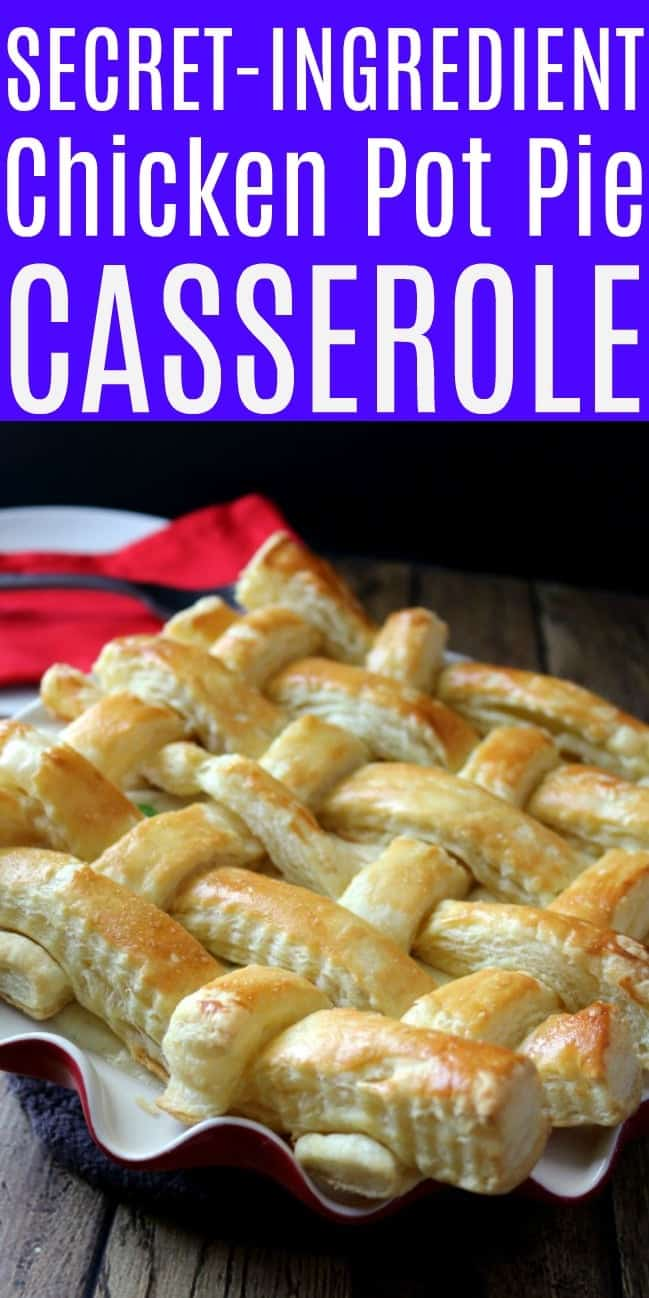 A casserole filled with creamy chicken pot pie base topped with a golden-brown puff pastry lattice work crust.