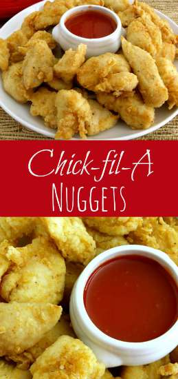 Paired with our Polynesian Sauce -- my daughter says these Chick-fil-A Chicken nuggets are the best chicken nuggets ever! |KitchenDreaming.com |