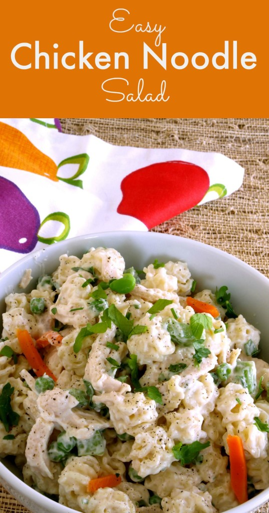 Chicken Noodle Salad Pinterest Pin Kitchen Dreaming© --- By incorporating the meat and other ingredients into a Chicken Noodle Salad, we've created a simple all-in-one meal.