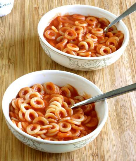 Homemade Spaghettios are simple to make and uses under 10 ingredients and no high fructose corn syrup or other fillers. This can be made gluten free as well | KitchenDreaming.com |