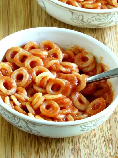 A bowl of homemade spaghettios.