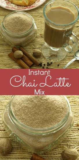 The warm flavors of cinnamon, nutmeg, allspice and cloves mingles with savory cardamom and black pepper in this Instant Chai Latte Mix. Just add hot water!