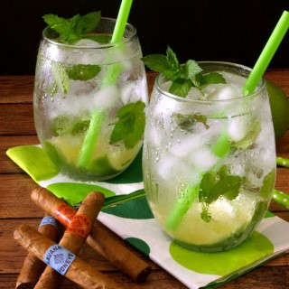 two glasses of cuban mojito cocktails