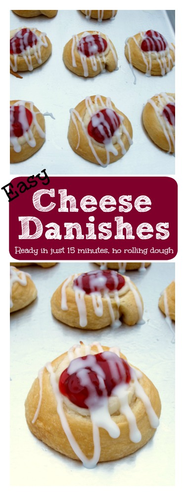 This recipe for Easy Cheese Danish is both quick and easy and starts with a can (or two) of crescent rolls or crescent rounds.