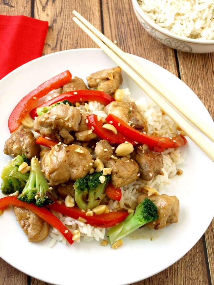 Lighter Kung Pao Chicken is flavorful and delicious and ready in under 30 minutes
