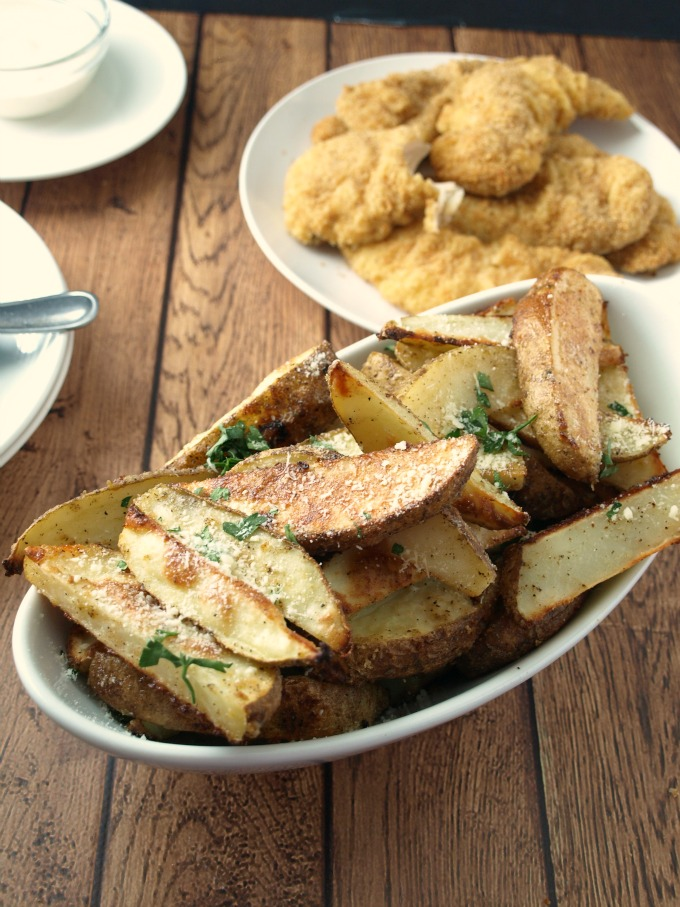Roasted Parmesan Ranch Potatoes in a serving dish